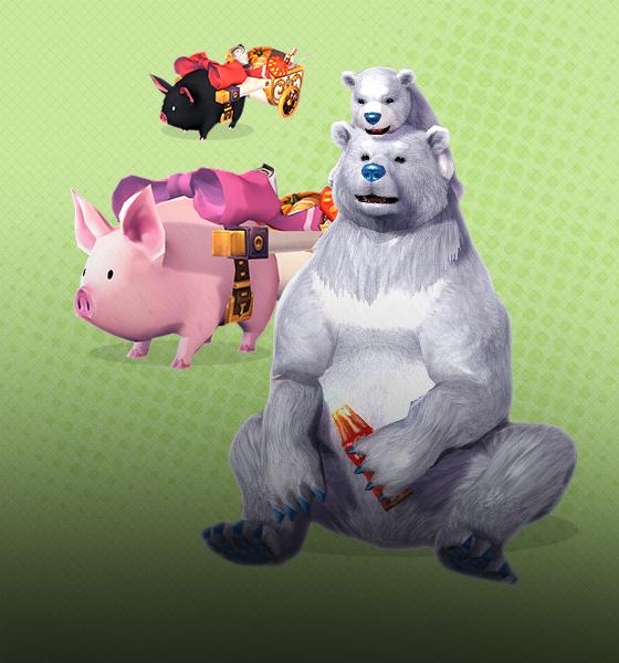 호박과 귀여운 수레를 끄는 아기돼지들과 듬직하고 귀여운 곰의 반전 매력에 푹 빠질 시간!